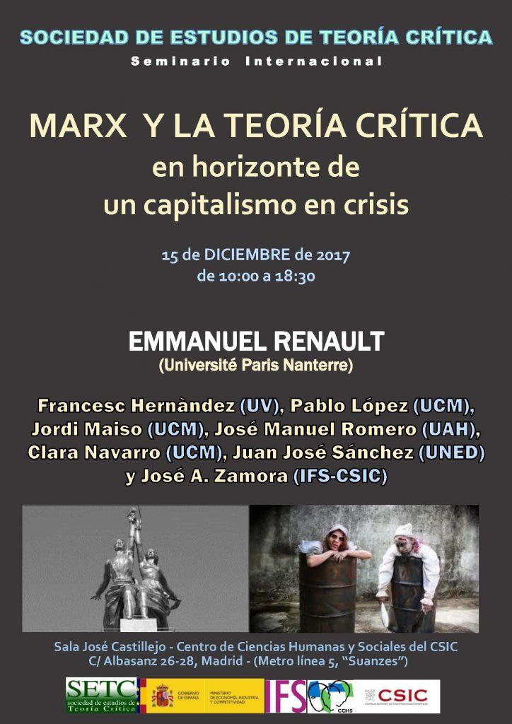 Seminario SETC 2017: Marx y la teoría crítica en un capitalismo en crisis @ Centro de Ciencias Humanas y Sociales – CSIC | Madrid | Comunidad de Madrid | España